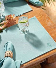 Another great find on #zulily! Aqua Palm Tree Logo Place Mat - Set of Four by Bardwil Home #zulilyfinds