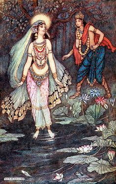 """Shantanu meets the Goddess Ganga. 'Prelude to the Great Baharata War' from """"Indian myth and legend"""" (1913). Illustration by Warwick Goble"""