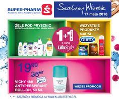 Szalony Wtorek w Drogeriach Super-Pharm!  Tylko 17.05.2016, tylko z kartą LifeStyle, nowe szalone promocje: 1+1 za grosz na żele pod prysznic, 1+1 za grosz na produkty marki Durex, -40% na kosmetyki Elancyl, Vichy 48H antyperspirant roll-on za 19,99! Szczegóły promocji: http://www.superpharm.pl/strona/szalony-wtorek/ Zapraszamy Emotikon smile