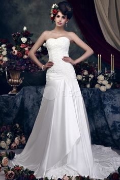 Gorgeous A-Line Sleeveless Cathedral Train Lace Taline's Wedding Dress