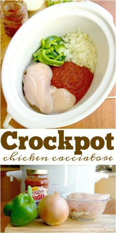 Crockpot chicken cacciatore is so good! If you've never made this it literally takes 10 min. to prep and my kids love it too over rice! via @thetypicalmom
