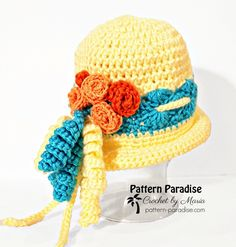Free Crochet Pattern, Spring Fling Beanie in sizes from newborn to adult on pattern-paradise.com #crochet #patternparadisecrochet #crochethat #beanie
