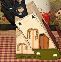 Primitive Painted Blocks | knife block hand painted wooden primitive salt box house willow tree