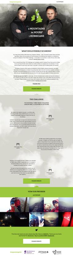 Responsive one pager promoting an expedition by two (underprepared) designers to raise money and awareness for the Velindre Cancer Centre. The site features a pretty neat route map and an Instagram Feed on their mission in October.