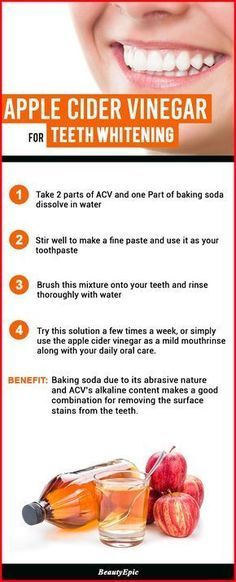 4 Effective Ways to Use Apple Cider Vinegar to Whiten Your Teeth Naturally #acneapplecidervinegar,