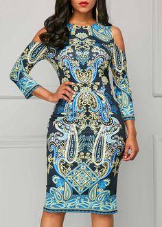 Three Quarter Sleeve Cold Shoulder Printed Dress | Rosewe.com - USD $32.64