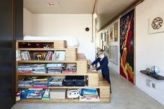 Take a tour of the incredible South Melbourne Brick House from episode season 4 of Grand Designs Australia. Bookshelves, Bookcase, Grand Designs Australia, Latest House Designs, Design Trends, Playroom, Melbourne, Brick, Kids Room