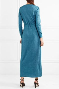 Missoni | Metallic stretch-knit wrap maxi dress | NET-A-PORTER.COM