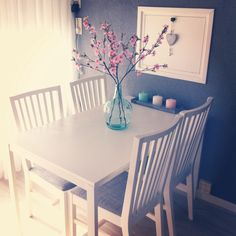 #flowers #pink #blue #white #table