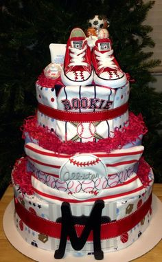 Baseball fan baby cake Baby Shower Diapers, Baby Shower Cakes, Baby Shower Themes, Baby Boy Shower, Baby Shower Decorations, Baby Shower Gifts, Shower Ideas, Baby Gifts, Diy Diaper Cake