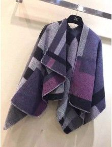 Burberry Check Wool And Cashmere Blanket Poncho Mauve Pink 2015