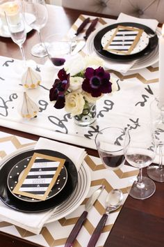 Table runner,chevron, mix n' match - black & gold -- This is a wood table, a little bit busy though
