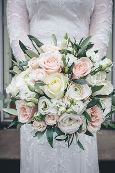 Top 8 Amazing Wedding Color Combos to Steal in Spring wedding bouquet with greenery, spring weddings, country weddings, garden weddings Silk Bridal Bouquet, Bride Bouquets, Bridal Flowers, Flower Bouquet Wedding, Rose Wedding, Bridesmaid Bouquet, Floral Wedding, Wedding Colors, Wedding Bride