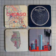 Coaster Set. Chicago Landmarks Skyline by BrandiFitzgerald on Etsy, $16.99