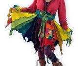 Fairy RIng -- Flutterby Pixie Patchwork Sweater Coat Creation-- Made from Recycled Sweaters