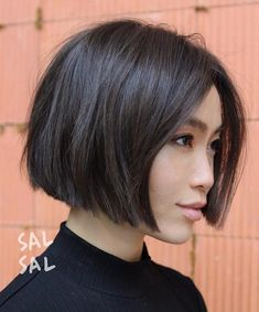 60 Layered Bob Styles: Modern Haircuts with Layers for Any Occasion - Hair styles - Asian Brown Jaw-Length Bob - Line Bob Haircut, Short Bob Haircuts, Modern Haircuts, Bob Hairstyles For Thick, Bob Haircut Fine Hair, Asian Short Hairstyles, Short Blunt Haircut, Asian Bob Haircut, Short Blunt Bob