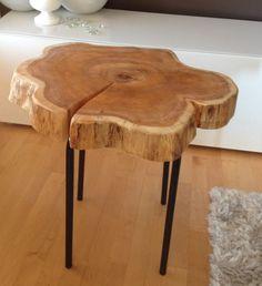 Stump End Table - Cedar Wood Stump Table with Metal Legs www.serenitystumps.com