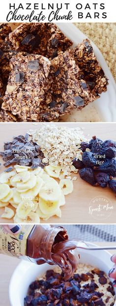 These easy to make Hazelnut Oats Bars make a great grab-and-go snack. With organic hazelnut spread healthy and hearty wholegrain oats figs and bananas they are sure to keep you going and your tummy happy! Healthy Meals For Kids, Healthy Dessert Recipes, Clean Eating Recipes, Easy Desserts, Healthy Snacks, Breakfast Recipes, Snack Recipes, Healthy Eating, Oatmeal Recipes