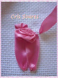 Bordado passo a passo: Rosa bordada em fita