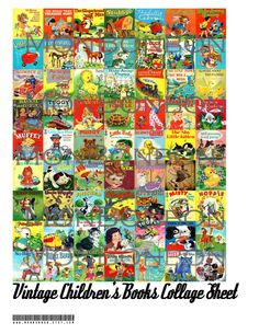 Perfect for DIY nursery projects.   Digital Download 63 Vintage Children's Books Collage Sheet  1x1 inch   ACEO ZNE. $2.99, via Etsy.