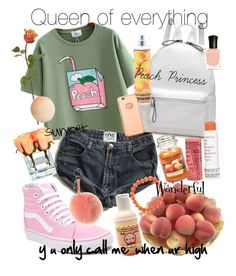 """Peachy"" by sbcoughlin ❤ liked on Polyvore featuring Vans, One Teaspoon, Tony Moly, Korres, Nicole Miller, Emilio Robba, Yankee Candle, Deborah Lippmann, Fendi and Sydney Evan"