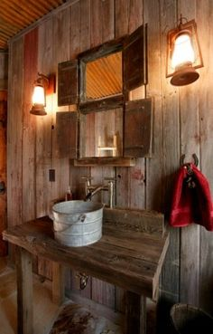 Rustic Bathroom Sink, hmmm jim said he wanted running water out there!! lol