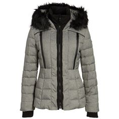 Women's Guess Quilted Hooded Puffer Coat With Faux Fur Trim ($130) ❤ liked on Polyvore featuring outerwear, coats, grey melange, puffer jacket, hooded puffer coat, hooded coat, puffy jacket and puffy coat