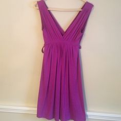 Purple, V-neck dress by Zara Purple v-neck front and back, dress from Zara. 96% viscose, 4% elastase. Beautiful deep purple color. Very soft and comfortable. Excellent condition. Size small. Zara Dresses Mini
