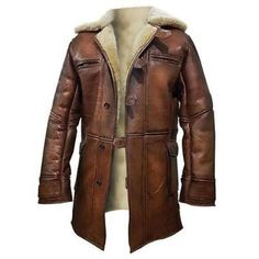 New Tom Hardy Dark Knight Rises Bane Shearling Brown Leather Jacket Coat #BNH…