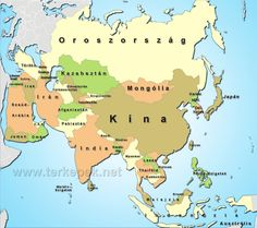 political map of asia showing the countries and capital cities of the asian continent