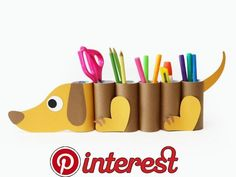 Toilet Paper Roll Crafts - Get creative! These toilet paper roll crafts are a great way to reuse these often forgotten paper products. You can use toilet paperDIY dog desk organizer from paper tubes - cute kids project!Cute story/poem display ideas f Paper Crafts For Kids, Preschool Crafts, Projects For Kids, Diy For Kids, Easy Crafts, Diy And Crafts, Arts And Crafts, 3 Kids, Children