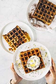 "Chaffles are waffles made with cheese and eggs; its funny name is a combination of the words ""cheese"" and ""waffle"". Without any sweeteners, they taste like your favorite grilled cheese sandwich but with the texture of a crispy, crunchy waffle. So delicious! Waffle Recipes, Brunch Recipes, Breakfast Recipes, Dessert Recipes, Gluten Free Waffles, Slice Of Bread, Recipe Of The Day, Hummingbird, Food To Make"