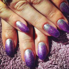 Purple and silver glitter gradient mani. Gel polish nail art