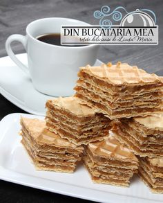 Romanian Desserts, Romanian Food, Waffle Cake, Love Food, Dessert Recipes, Dessert Ideas, Bakery, Food And Drink, Cooking Recipes