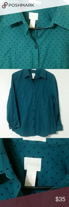 Selling this Chico's button up dark teal professional top on Poshmark! My username is: amanda_etienne. #shopmycloset #poshmark #fashion #shopping #style #forsale #Chico's #Tops
