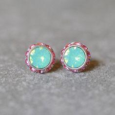 Mint Green Opal & Rose Pink Rhinestone Swarovski Crystal Stud Earrings
