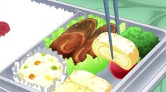 Bento with hamburger steak, tamagoyaki, and potato salad!Nagato Yuki-chan no Shoushitsu, Episode 6
