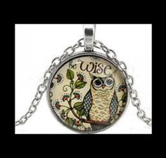 NEW - ANTIQUE SILVER BE WISE OWL GLASS CABOCHON PENDANT NECKLACE #Handmade #Pendant