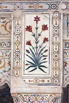 "Pietra Dura Stonework at the Itimad-ud-Dawlah, Mausoleum of Mirza Ghiyas Beg. The tomb is sometimes referred to as the ""Baby. Islamic Art Pattern, Pattern Art, Print Patterns, Mughal Architecture, Art And Architecture, Folk Art Flowers, Flower Art, Mughal Paintings, Floral Prints"