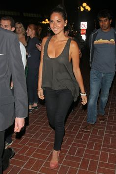 Olivia Munn attends Comic Con in her Super Skinny Ankles in Onyx.