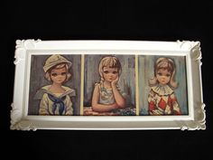 Vintage BIG EYES EDEN Art Triple Print Sailor Pierette Pensive Celluloid Frame #Vintage