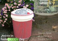Tutorial: Turn a 5 gallon bucket into cute garden storage and a weeding stool