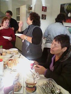 Having a meal after the funeral of one of our brothers from Maunu cong