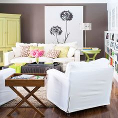 love the wall color and the painted furniture