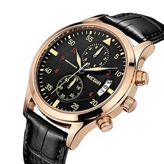 skone futuristic mens watches luxury novelty quartz wristwatch megir mens date chronograph wrist watch black genuine leather strap and rose gold stainless steel