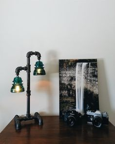This Unique Desk Lamp Is Made From Strong 1/2 Inch Gas Pipe And Iron  Fittings. It Is Fitted With Two Vintage Glass Insulators, The Insulators