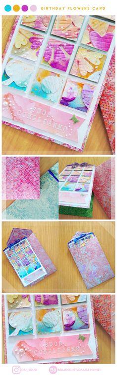 Birthday flowers card. #flowers#birthday#scrapbook#card#paper#handcrafted#handmade#craft#spring