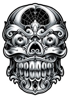 Ornate Skull - Black and Grey Temporary Tattoos