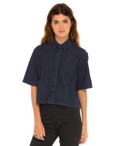 Motel Leigh Cropped Box Shirt in Denim Shirting Indigo, TopShop, ASOS, House of Fraser, Nasty gal