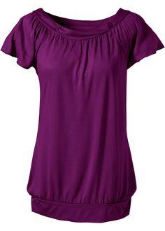 Flieder farbendes Halbarm-Shirt, Rundhalsausschnitt mit einem Knopf verziert, weich fließender Fall.